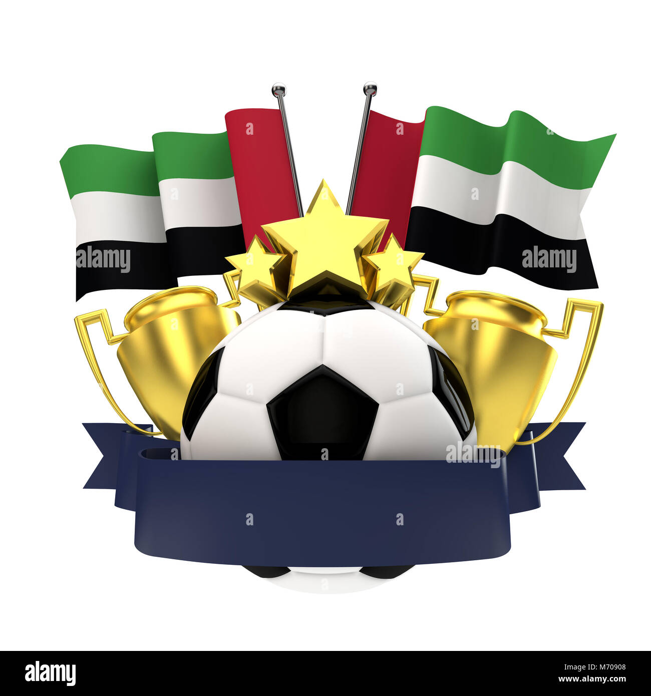 United Arab Emirates flag football winners emblem with trophy, stars, ball and ribbon. 3D Rendering - Stock Image