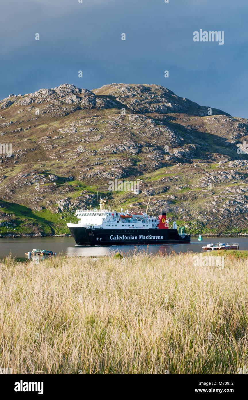 Caledonian MacBrayne ferry - Lord of the Isles - arriving into Lochboisdale harbour, Lochboisdale, Isles of South - Stock Image
