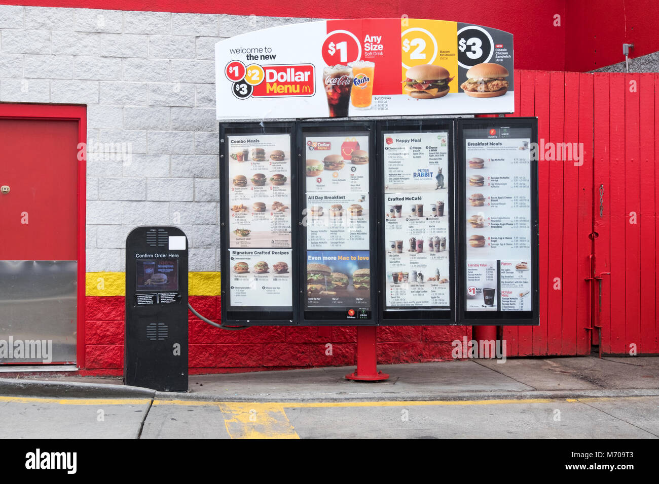 The menu for drive through customers at McDonald's fast food restaurant in Whitestone, Queens, New York - Stock Image
