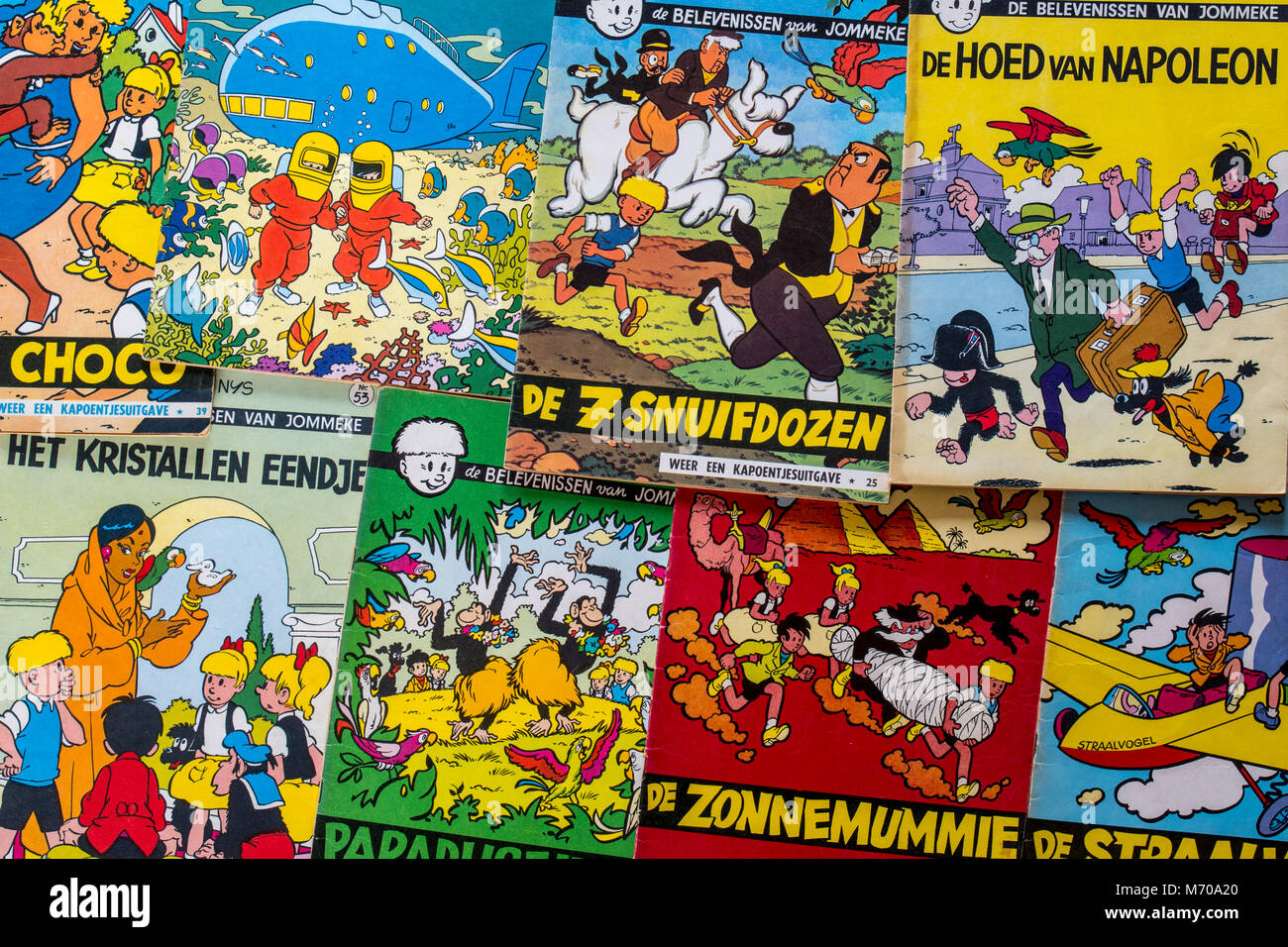 Collection of colourful covers of the Flemish comic strips Jommeke by the  Belgian comic book creator / cartoonist Jef Nys