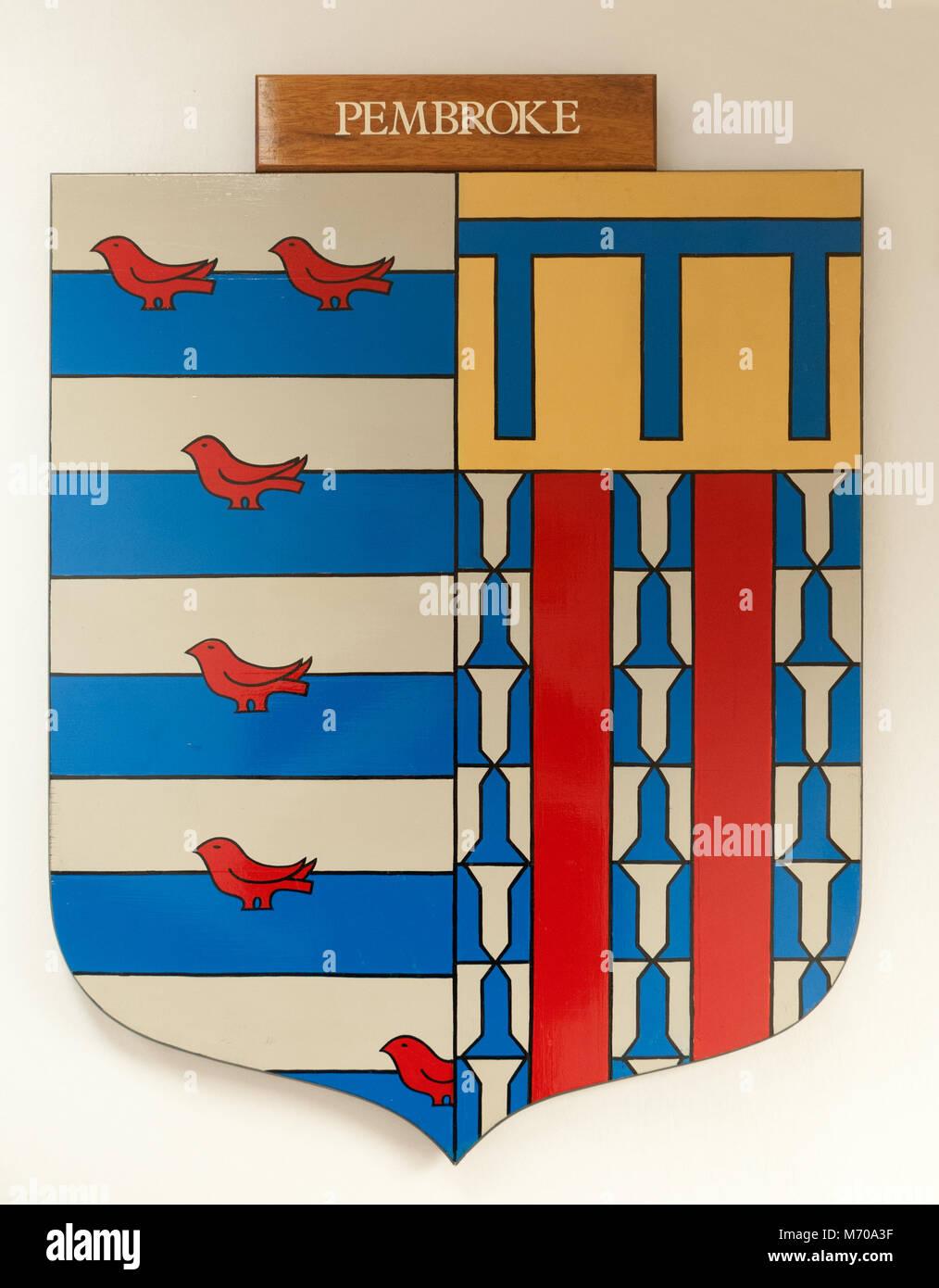 CAMBRIDGE, ENGLAND, UK - DECEMBER 03 2011 - Coat of Arms of Pembroke College, Cambridge University - Stock Image