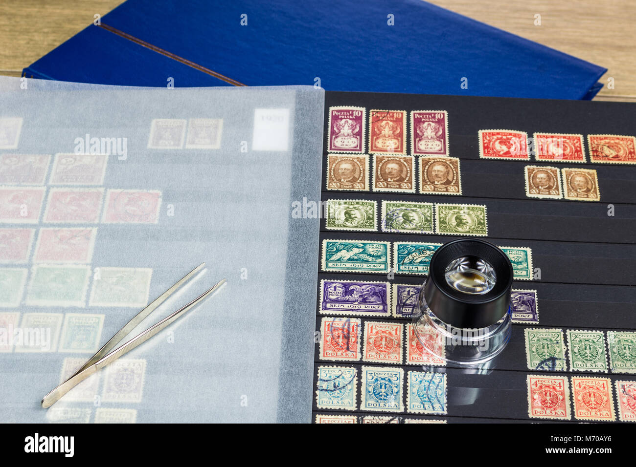 Philatelic collection with postage stamps - Stock Image
