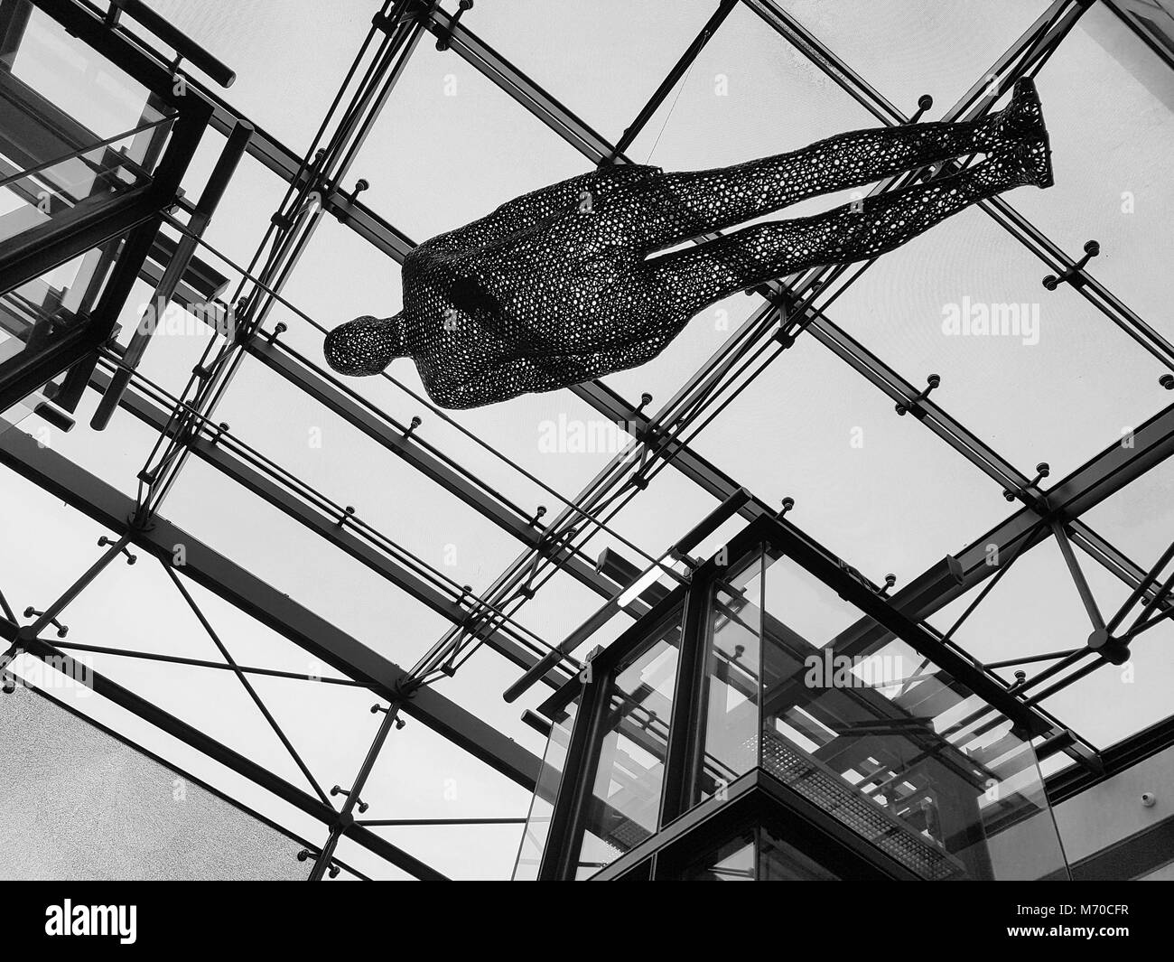 Manchester, United Kingdom - February 8, 2018: Antony Gormley's 'Filter' Sculpture on display in the - Stock Image
