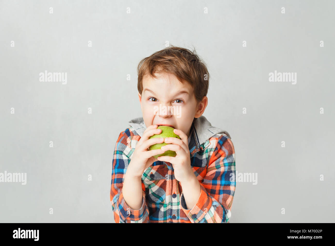 boy bites a green apple  in a checkered shirt, on a gray background - Stock Image