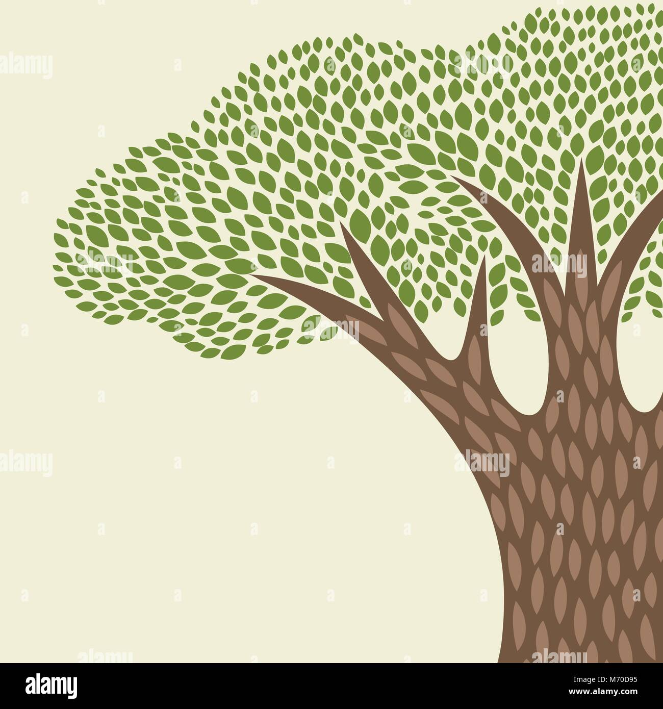 Abstract background with stylized tree in retro style - Stock Vector