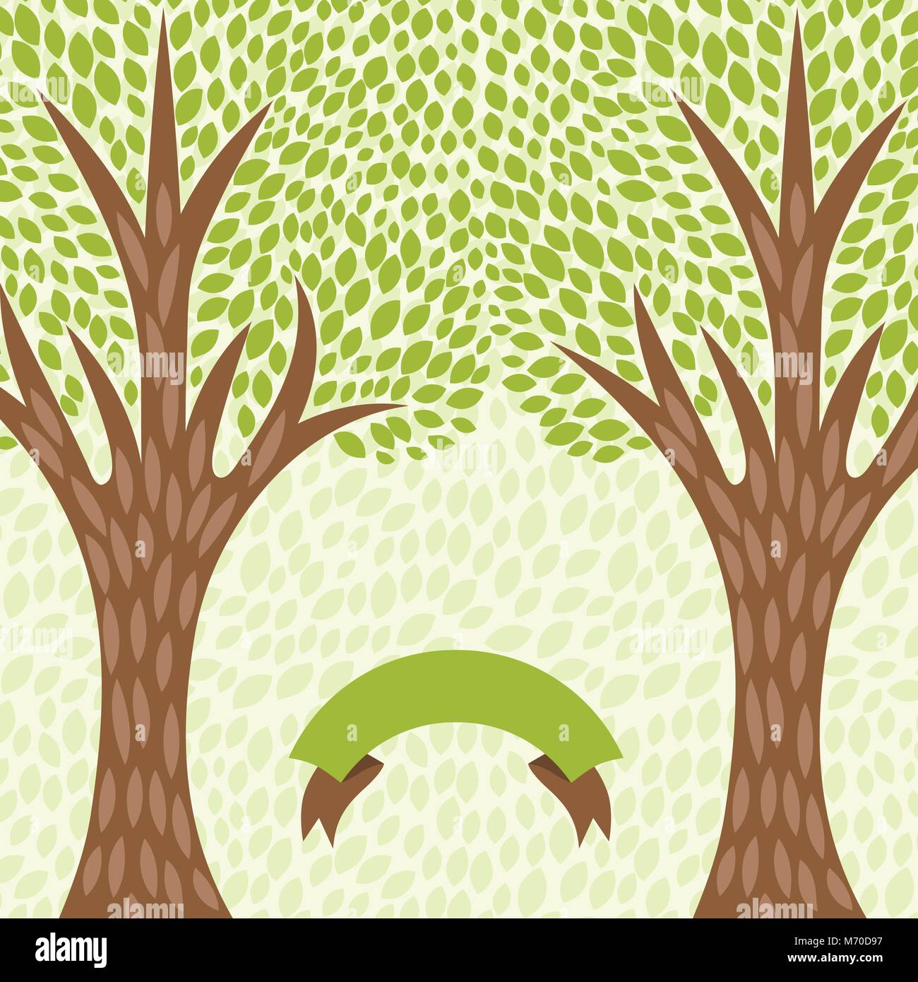 Abstract background with stylized trees in retro style - Stock Vector