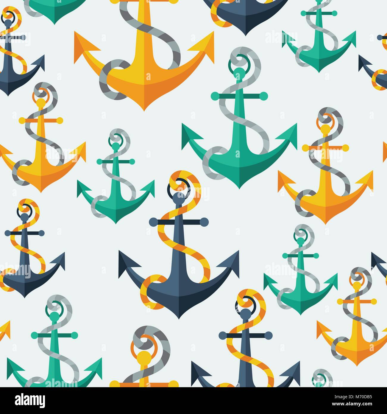 Nautical seamless pattern with anchors and rope - Stock Vector