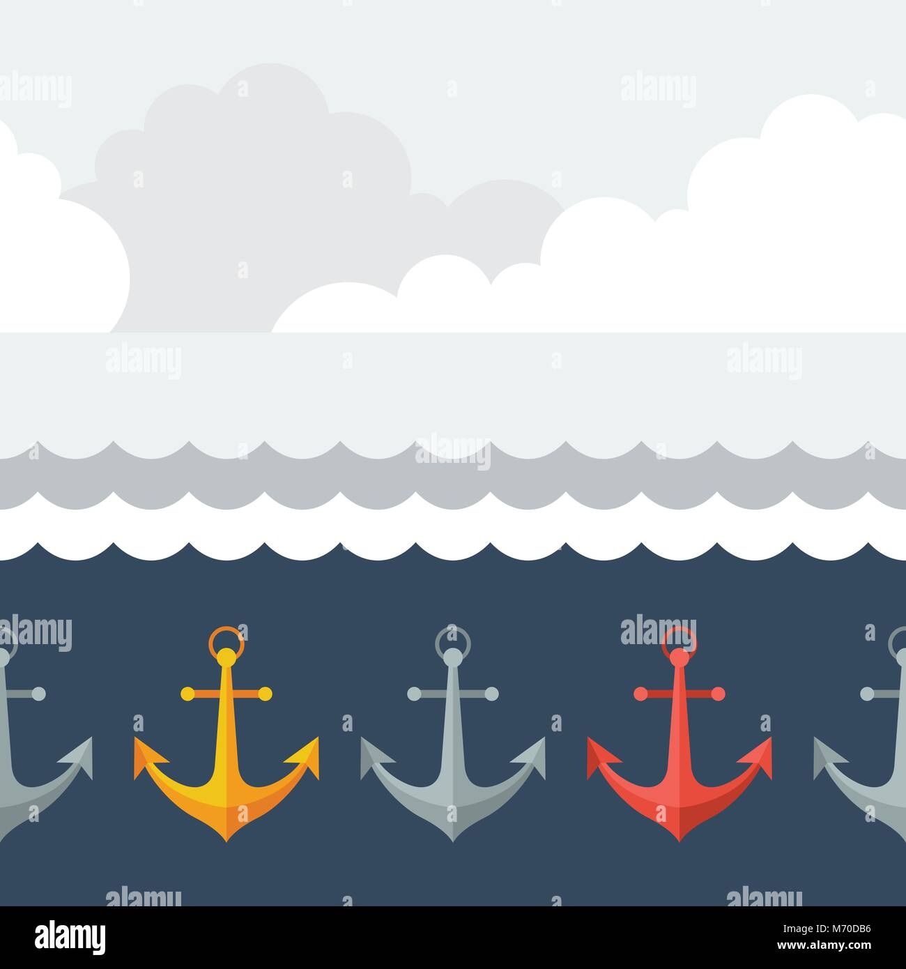 Nautical seamless pattern with anchors in flat design style - Stock Image