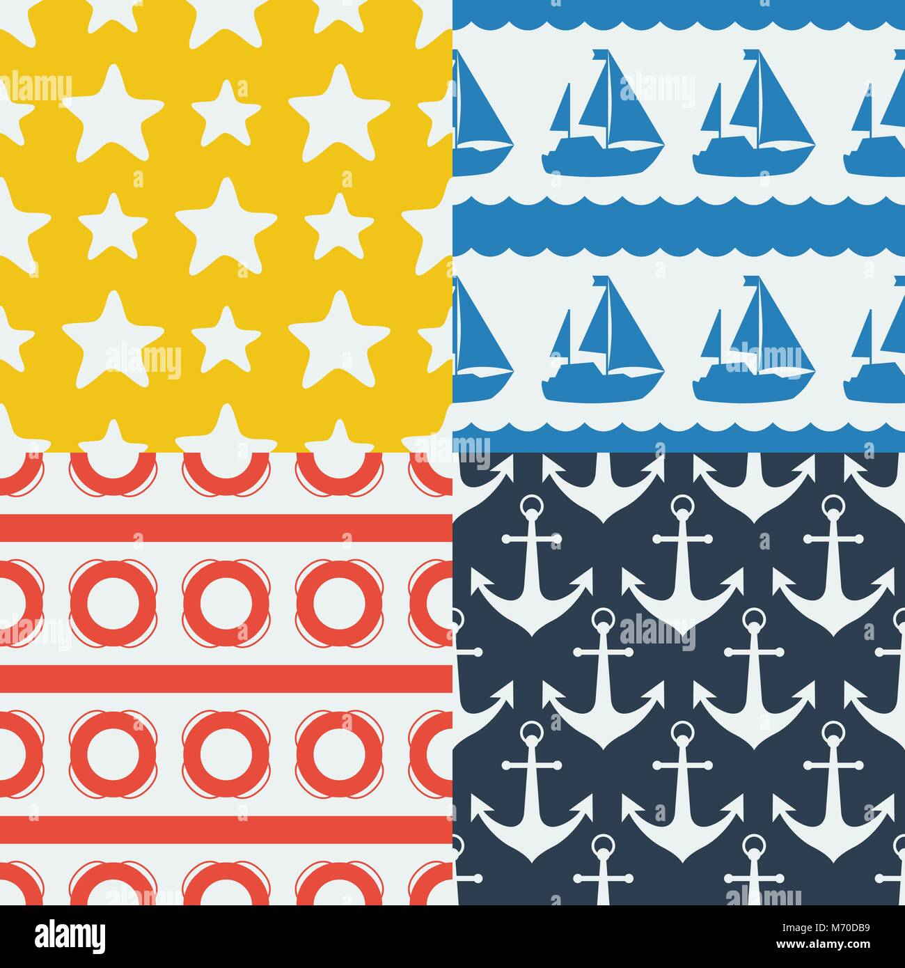 Nautical seamless patterns set in flat design style - Stock Image