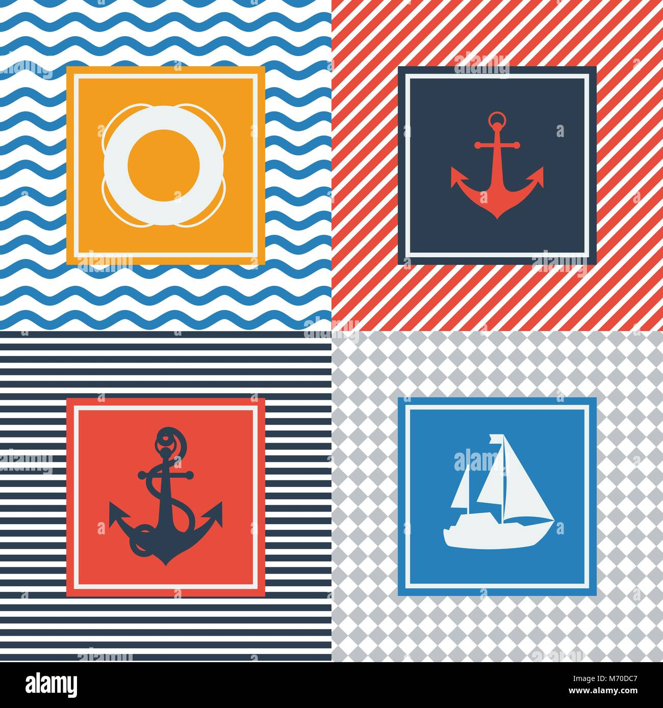 Set of cards with nautical symbols in flat design style - Stock Vector