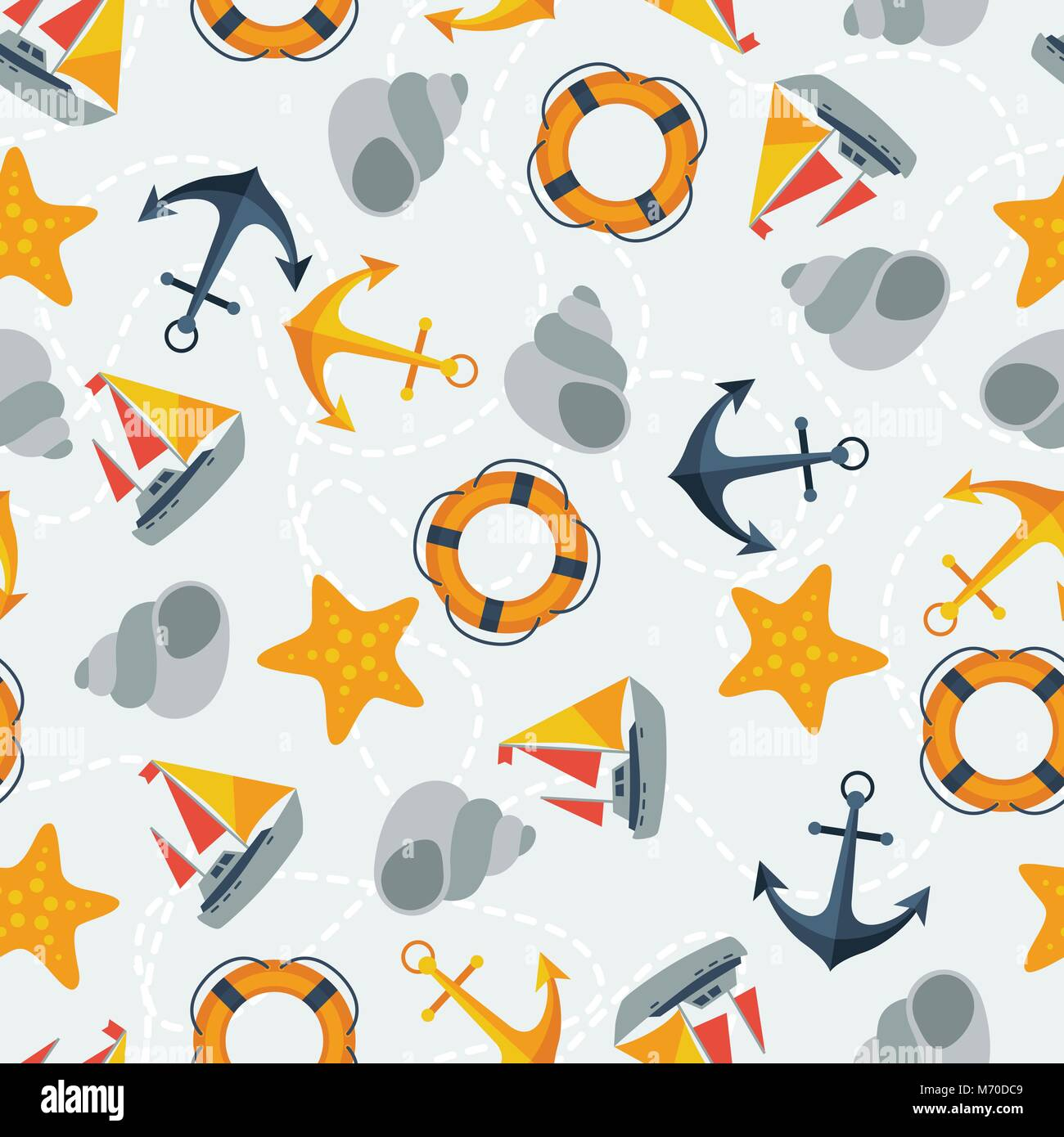Nautical seamless pattern in flat design style - Stock Vector