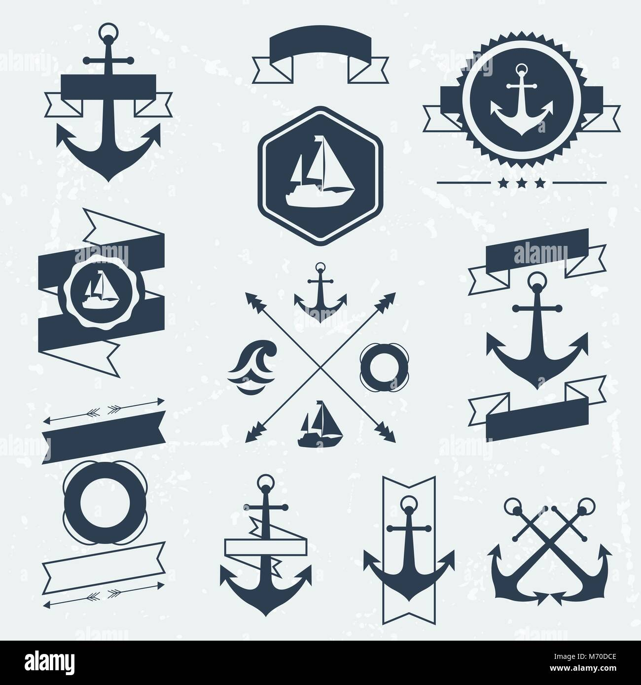 Collection of nautical symbols icons badges and elements - Stock Vector