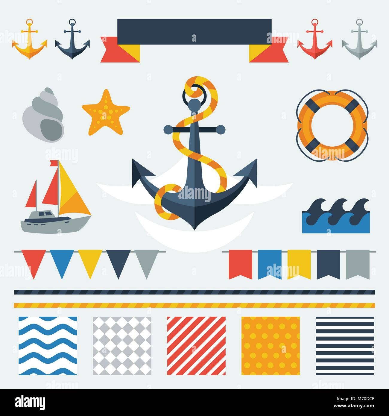 Collection of nautical symbols, icons and elements - Stock Vector