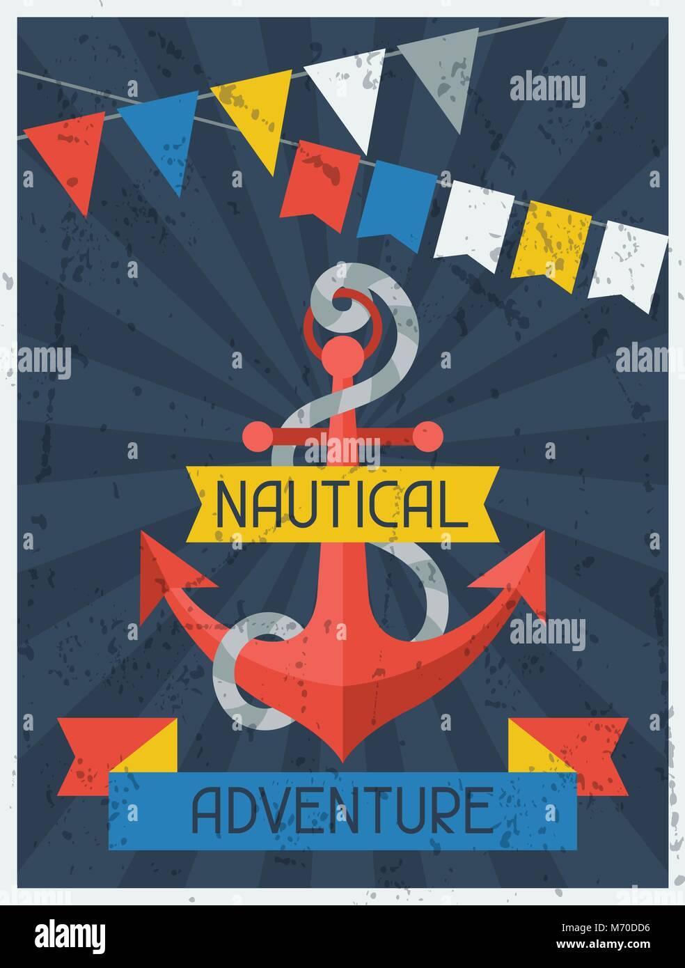Nautical Adventure. Retro poster in flat design style - Stock Vector