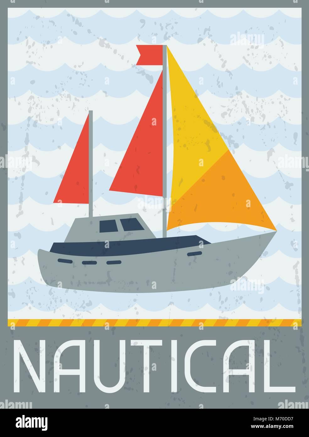 Nautical. Retro poster in flat design style - Stock Vector