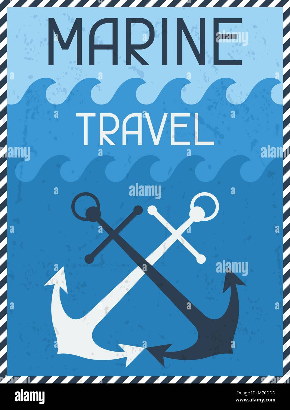Marine Travel. Nautical retro poster in flat design style - Stock Image