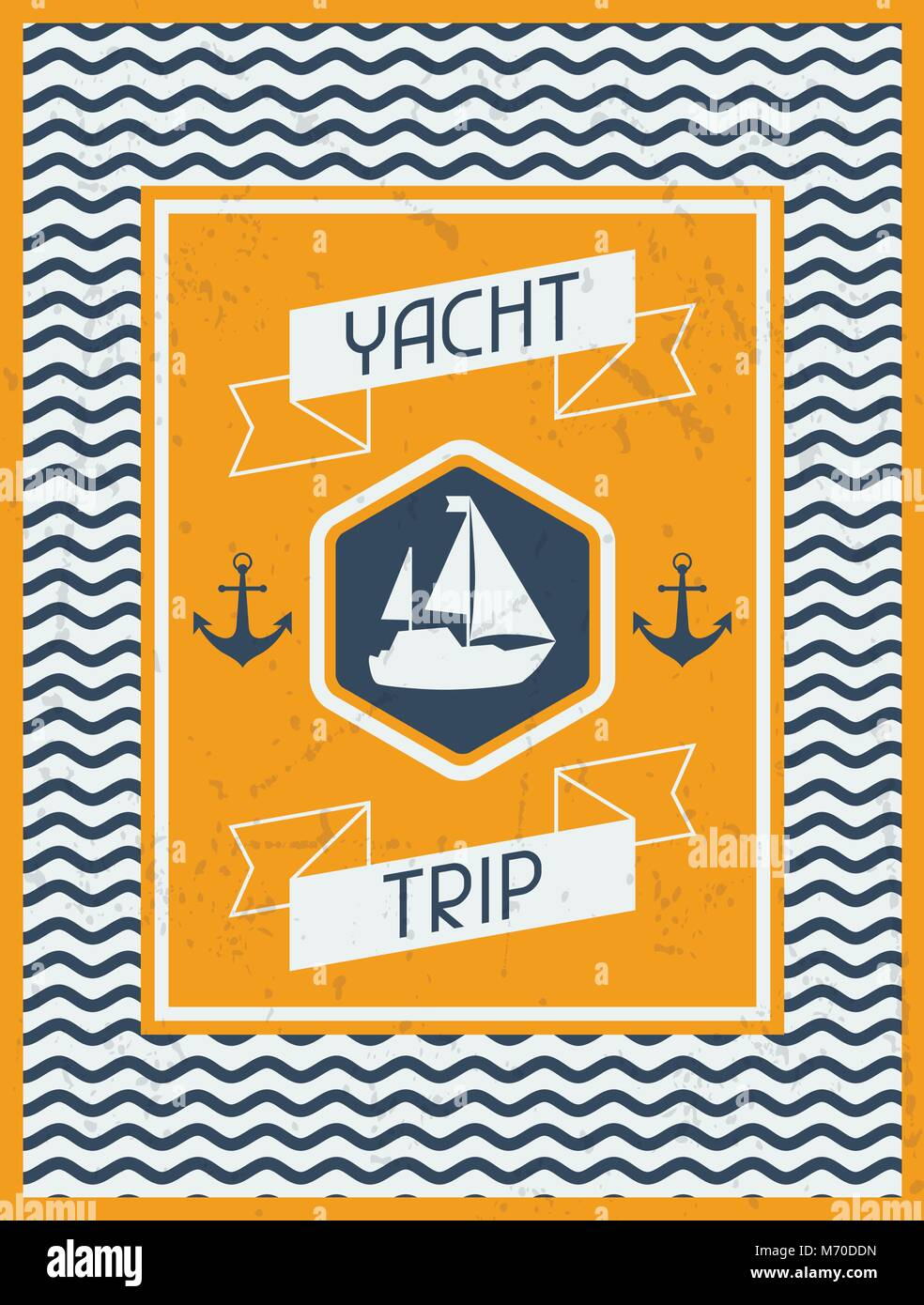 Yacht Trip. Nautical retro poster in flat design style - Stock Image