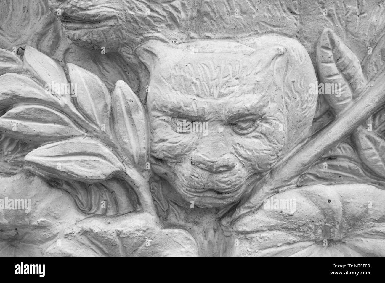 Small fragment the stucco bas relief in thai stlye thailan stock image