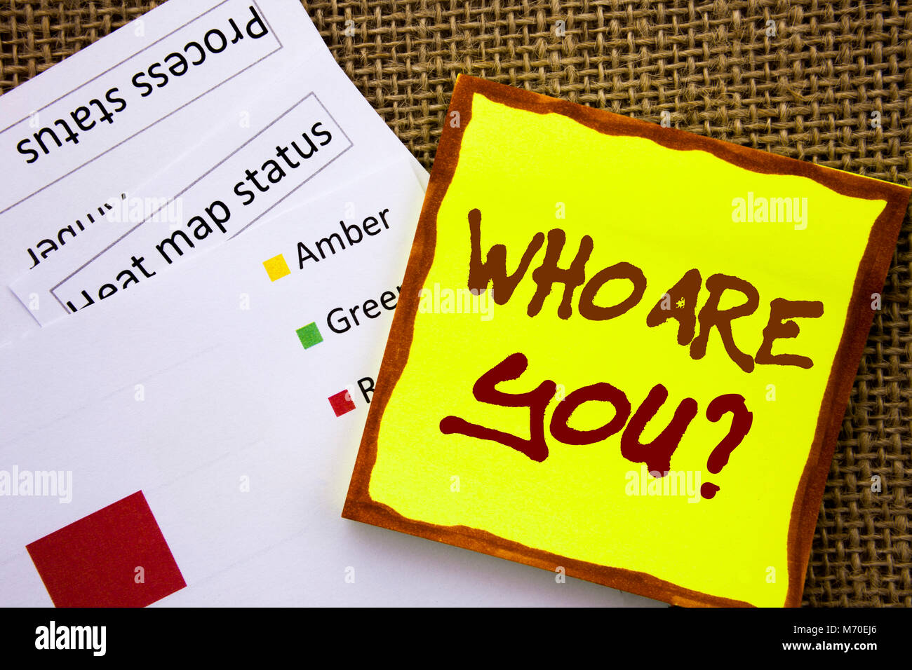 Handwritten text sign showing Who Are You Question. Business concept for Personality Identity Profile, About Me - Stock Image