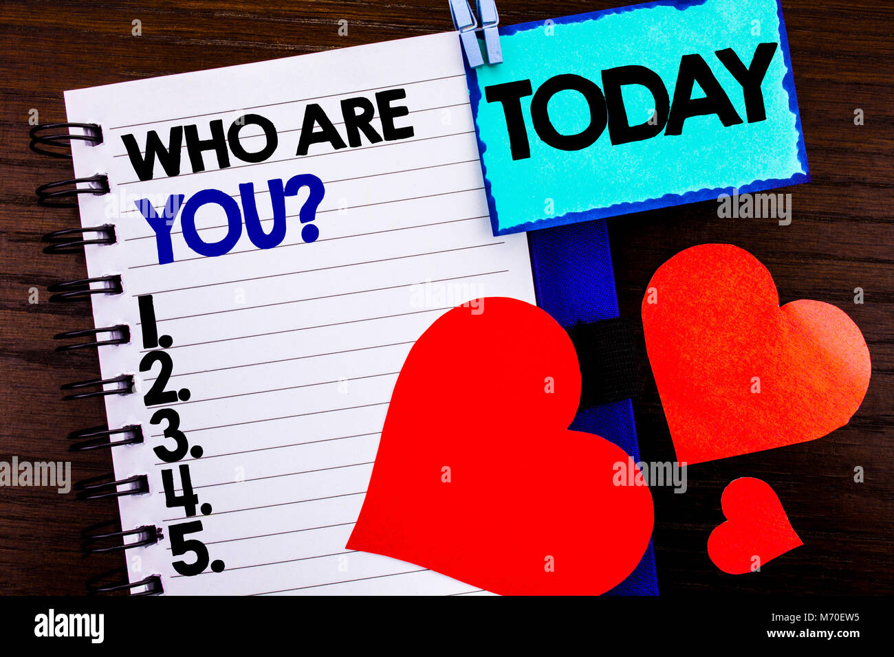 Announcement text showing Who Are You Question. Concept meaning Personality Identity Profile, About Me Or You  written - Stock Image