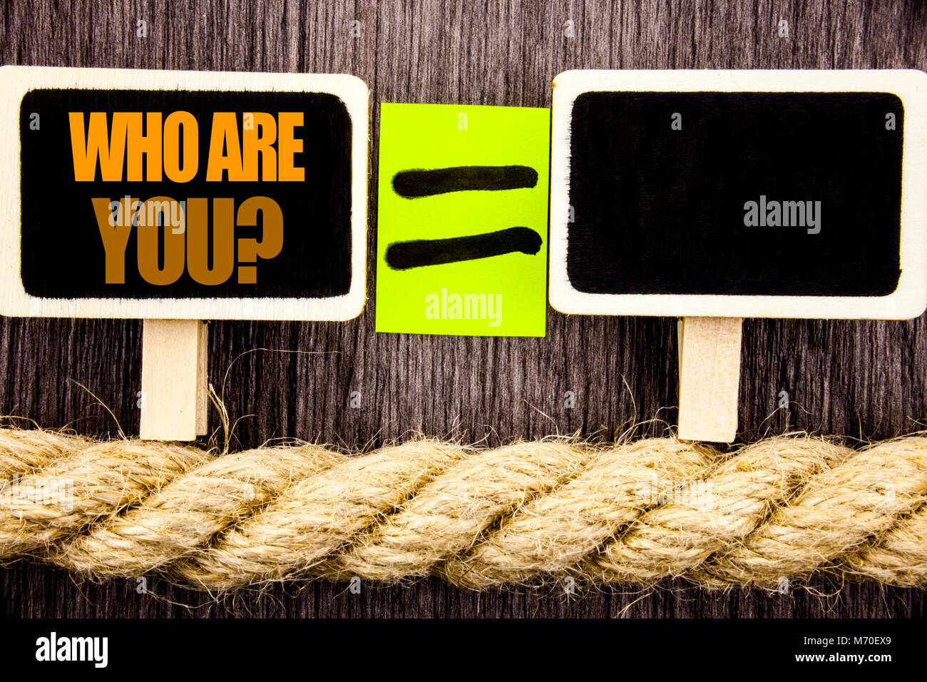 Ttext showing Who Are You Question. Business concept for Personality Identity Profile, About Me Or You  written - Stock Image