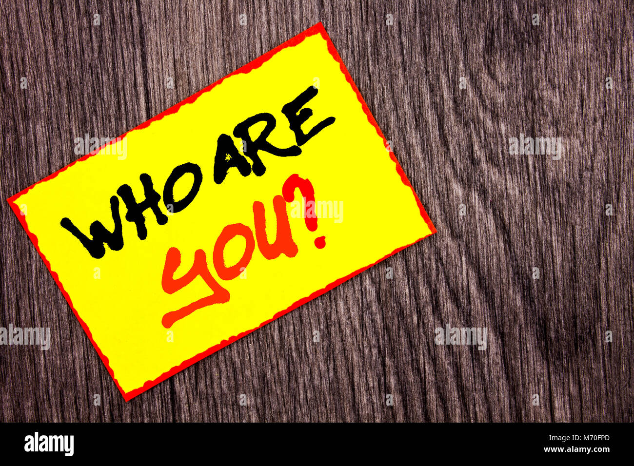 Conceptual hand writing text showing Who Are You Question. Concept meaning Personality Identity Profile, About Me - Stock Image