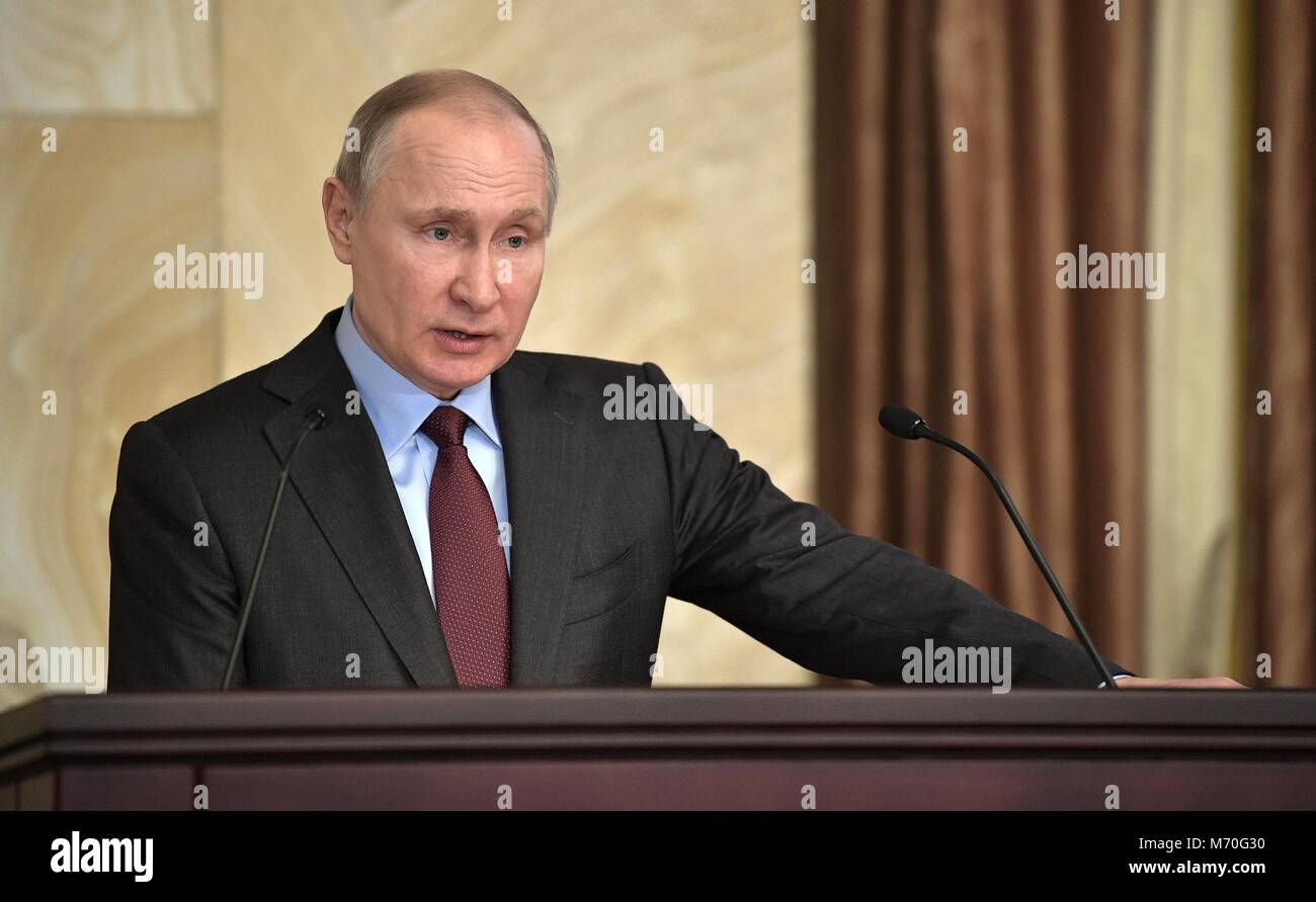 Russian President Vladimir Putin addresses an expanded meeting of the Federal Security Service Board March 5, 2018 - Stock Image