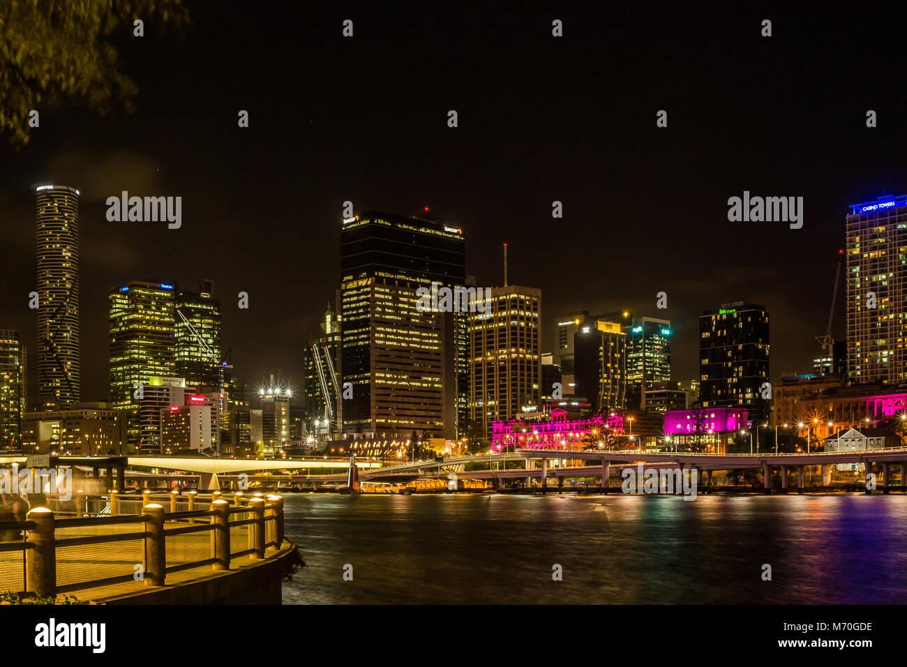 Brisbane night shot - Stock Image