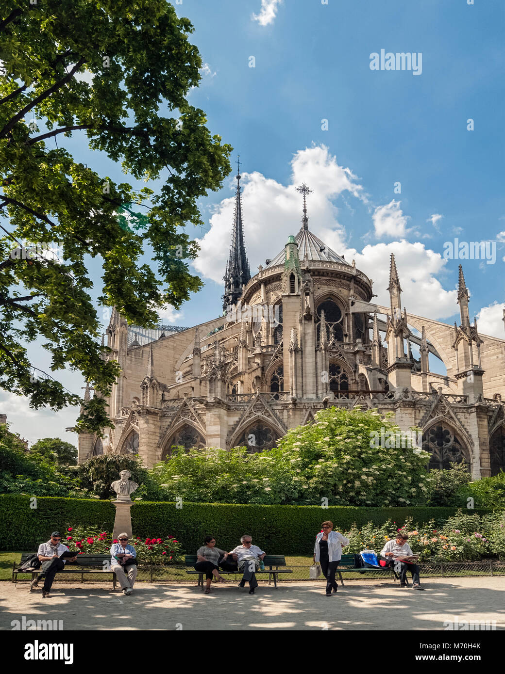 PARIS, FRANCE: Notre-Dame Cathedral on the Ile de la Cite seen from the Jean XXIII Garden - Stock Image