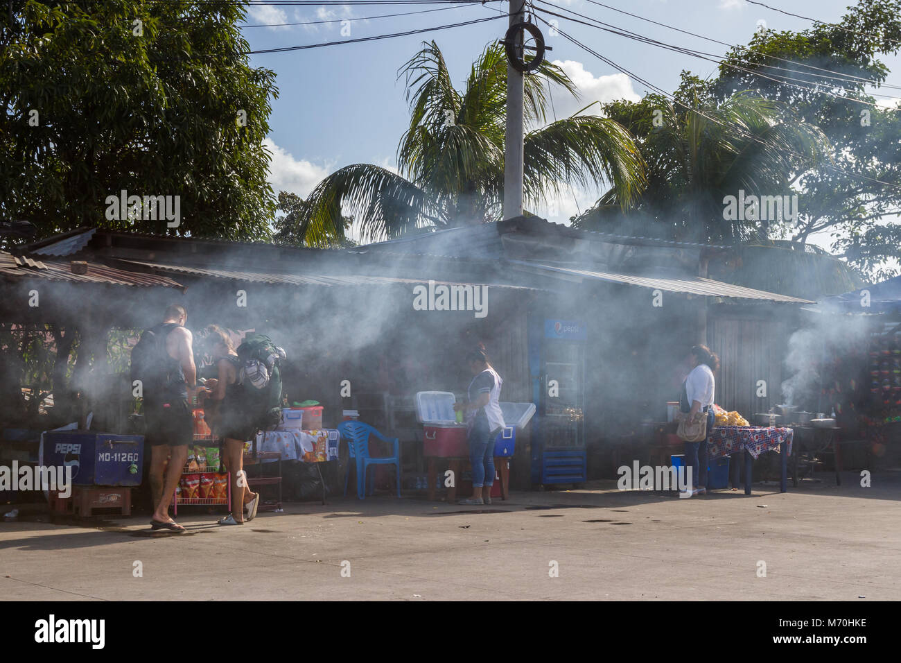 Peñas Blancas, Nicaragua - January 22: Smoky bbq attracting tourists at the border crossing process from Costa - Stock Image