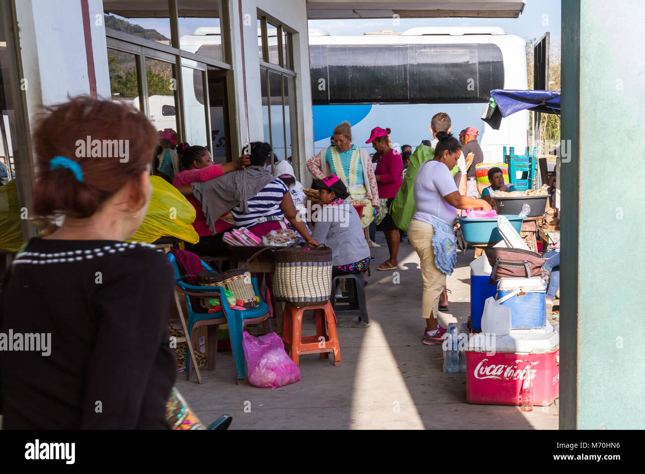 Peñas Blancas, Nicaragua - January 22: Vendors at the border crossing offices from Costa Rica into Nicaragua. - Stock Image