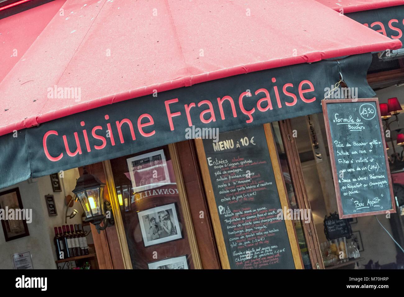Paris France Restaurant Advertising Cuisine Francaise In