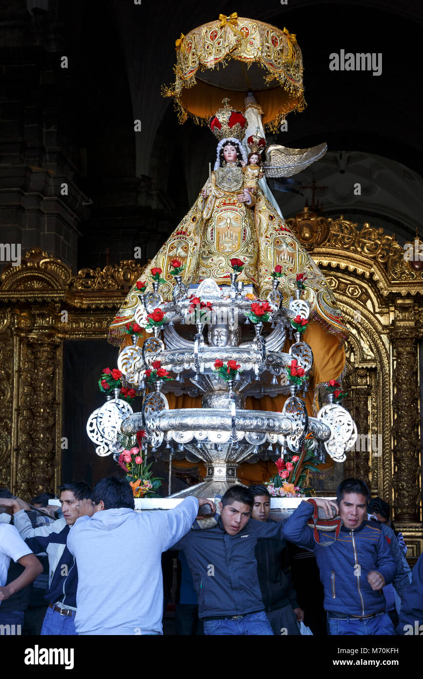 Virgen Purificada (Purified Virgin) Float, Corpus Christi Celebration, Cusco, Peru - Stock Image