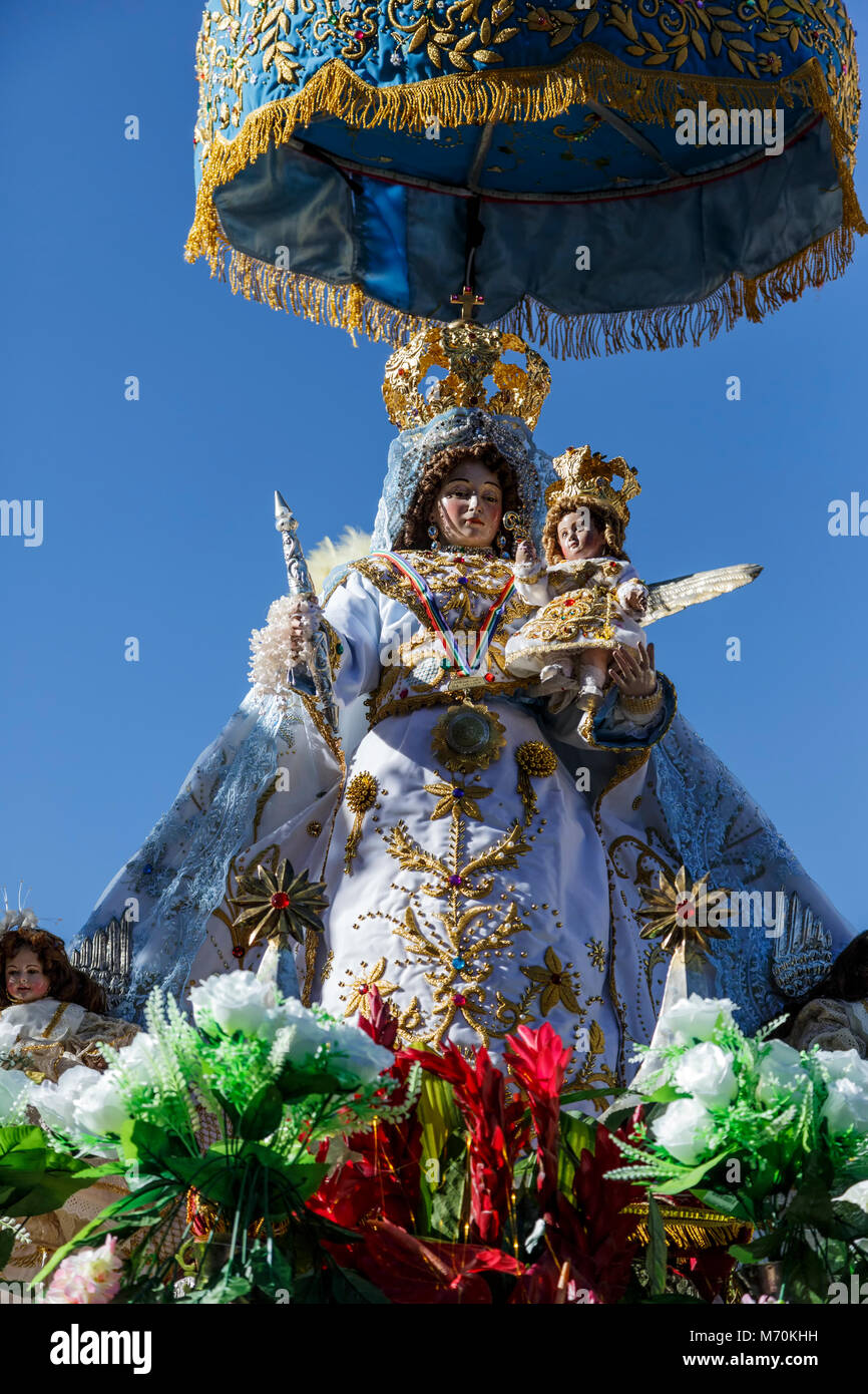 Virgen de los Remedios (Our Lady of Good Remedy) Float, Corpus Christi Celebration, Cusco, Peru Stock Photo