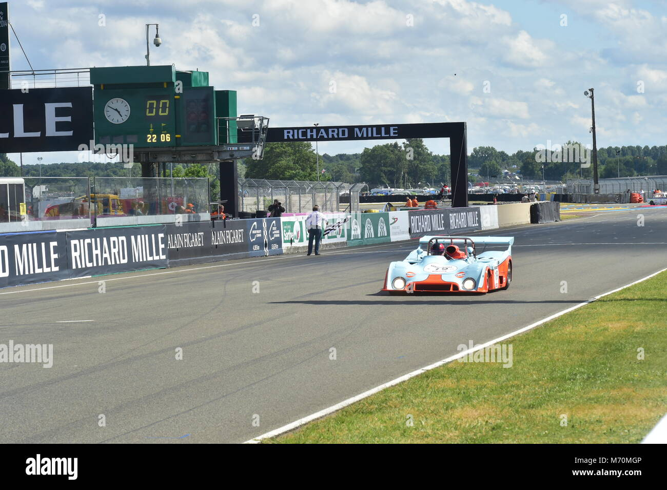 Chris MacAllister, Gulf Mirage, Le Mans Classic 2014, 2014, circuit racing, Classic, classic cars, Classic Racing Stock Photo