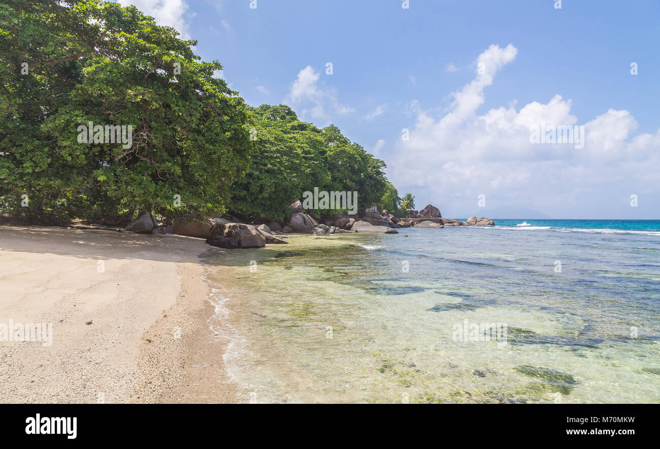 Bel Ombre Beach Panorama on Mahe Seychelles. - Stock Image