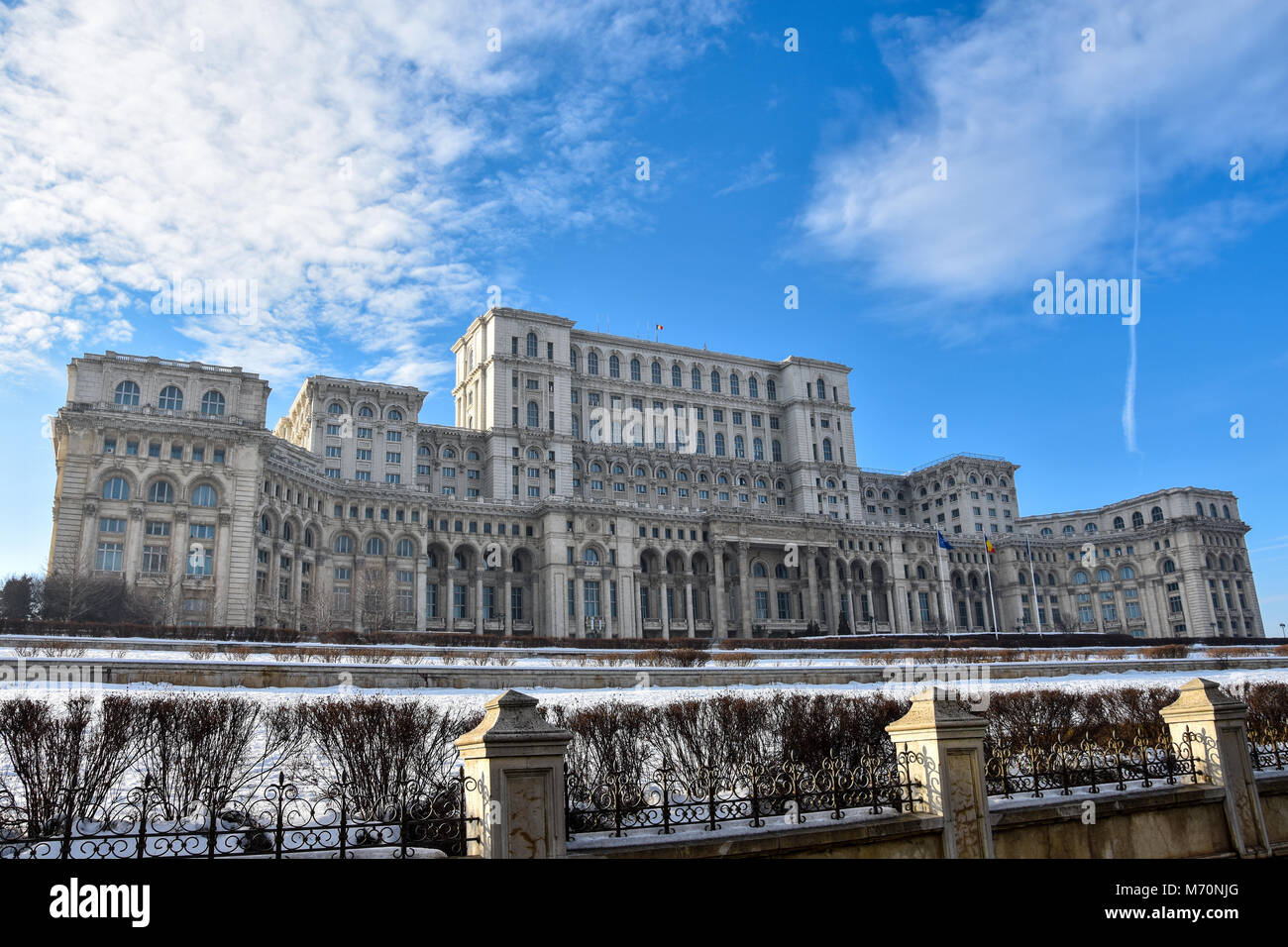 Palace of the Parliament (Palatul Parlamentului din Romania) also known as People's House (Casa Poporului) Bucharest, Stock Photo