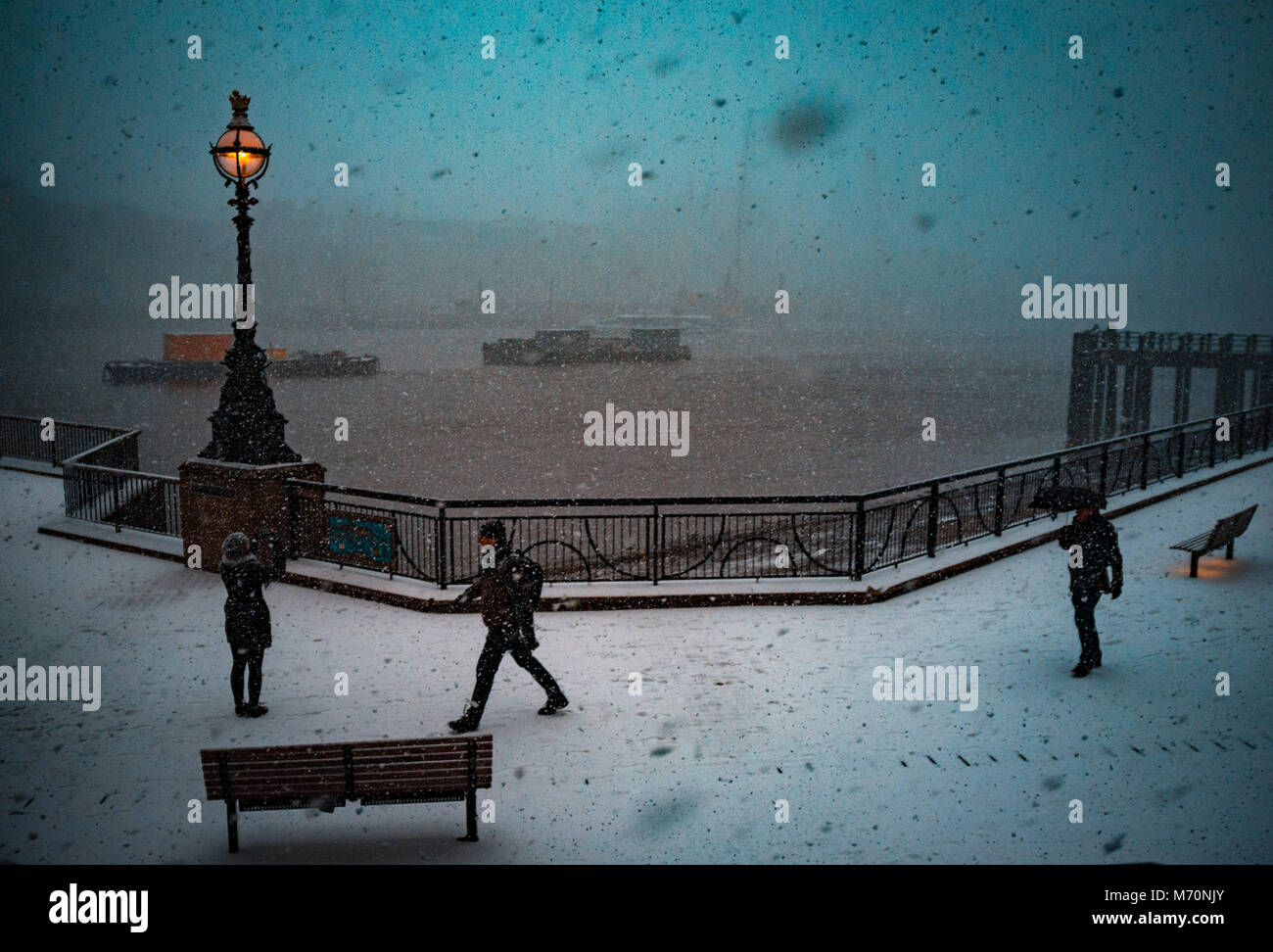 The Beast from the East hit London, a snow covered embankment walk by the River Thames,2nd March 2018 - Stock Image