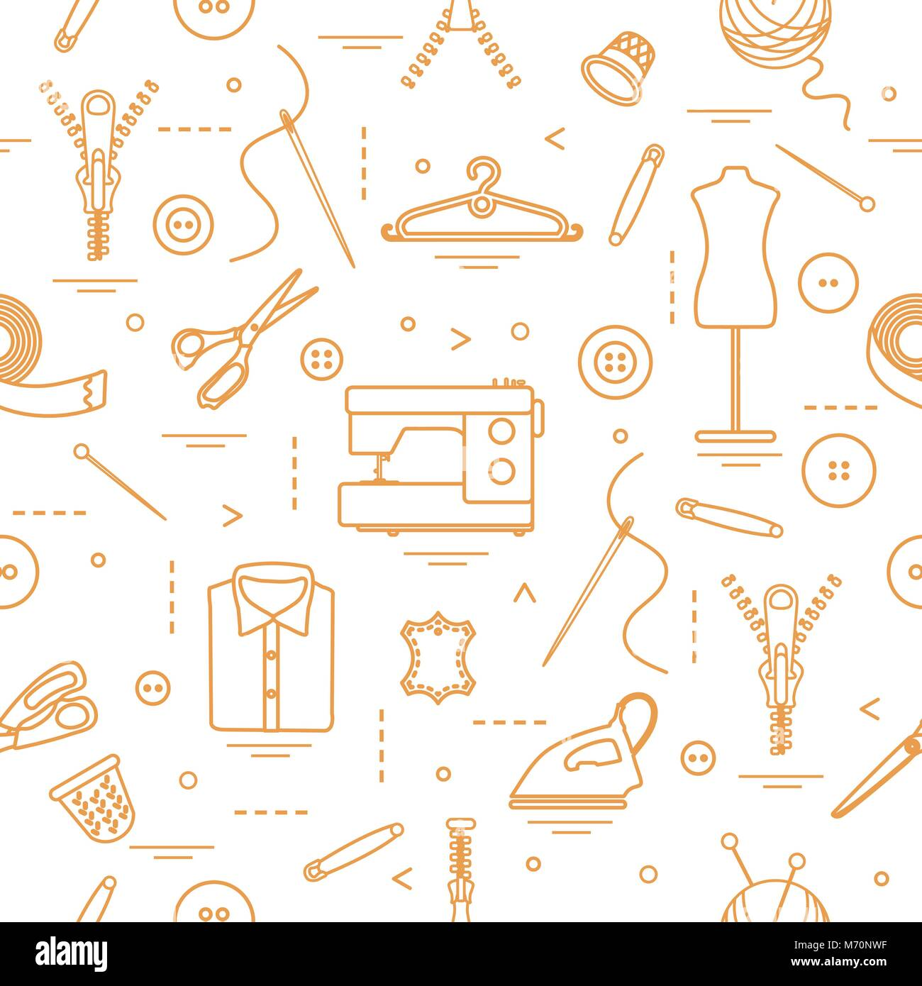 Seamless pattern with tools and accessories for sewing. Template for ...