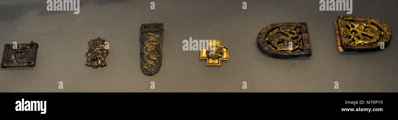 Objects used as offerings. Found in the Tomb of the Gokstad Ship. Viking Ship Museum. Oslo. Norway. - Stock Image