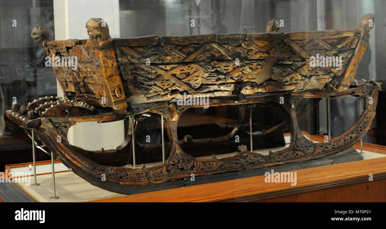 Sledge on wood. Found on the Tomb of the Oseberg Ship. 9th century. Viking Ship Museum. Oslo. Norway. - Stock Image