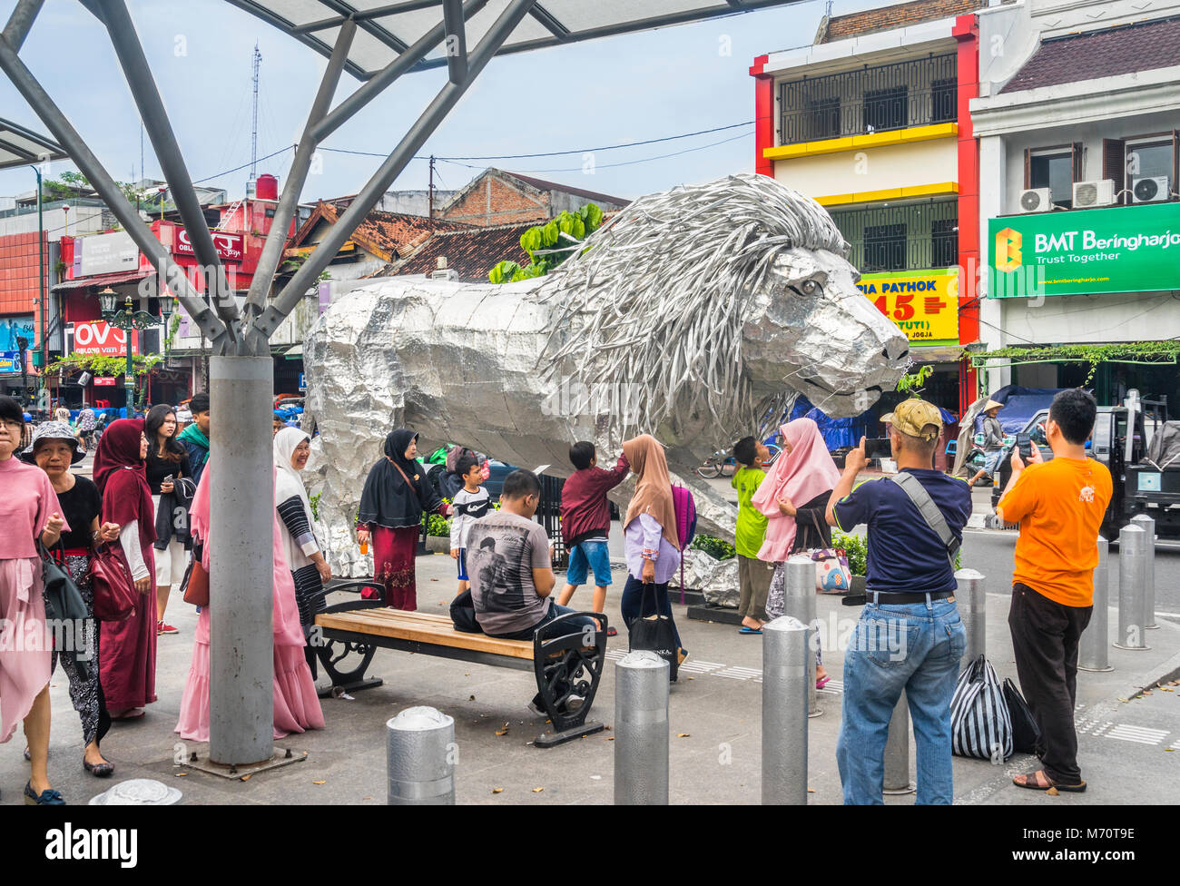 Indonesia, Central Java, Yogyakarta, Aluminium and Steel sculpture of a lion, titled 'Toughness' by local - Stock Image
