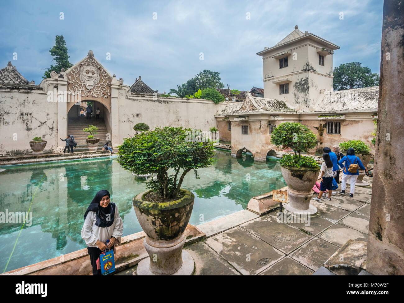 Umbul Pasiraman bathing complex with tower from where the sultan observed the bathing women at the Taman Sari Water - Stock Image