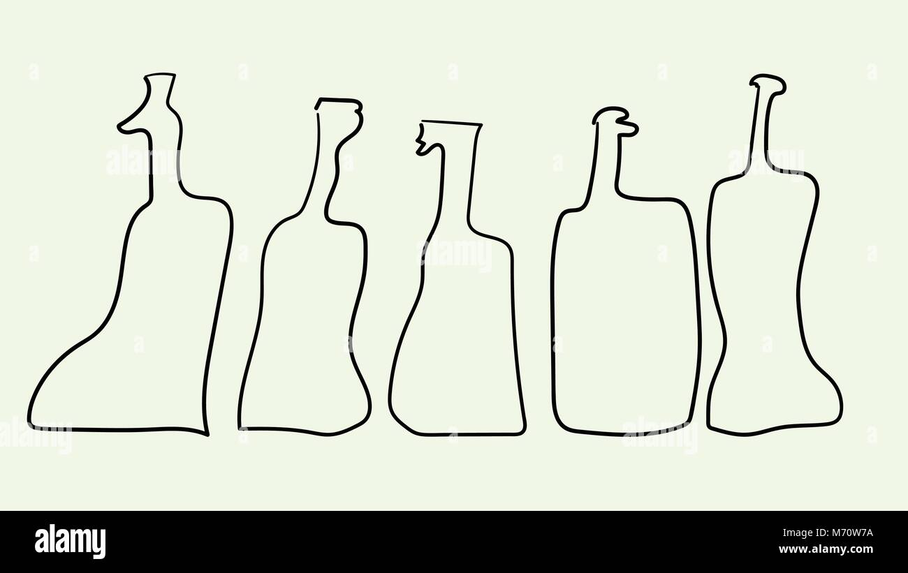 Vector outline bottles in abstract art style Stock Vector