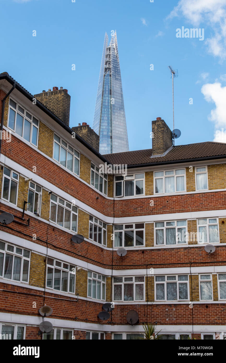 Council Flats And Apartments In Central London On An Estate In Bermondsey  Near Southwark With The Shard Office Block Or Building In The Background.