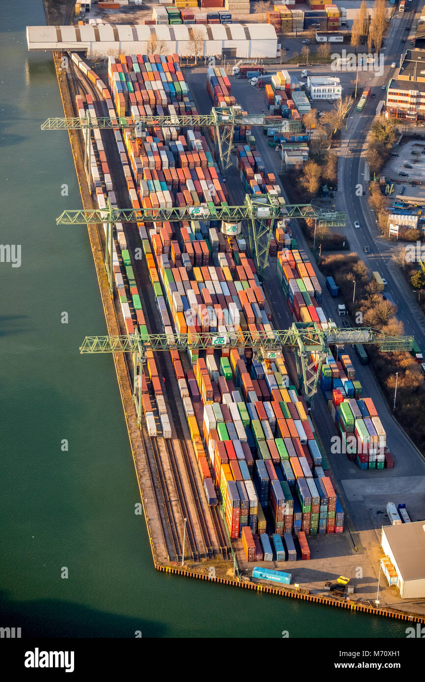 Port of Dortmund, inland port on the Dortmund-Ems Canal, with container terminal on the Mallinckrodtstraße, - Stock Image