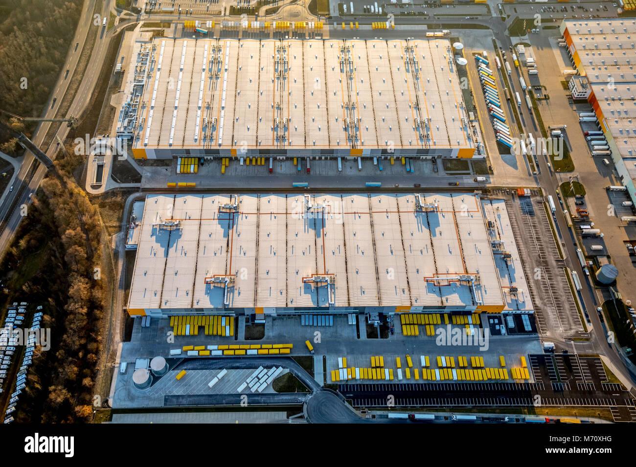 Amazon logistics center Dortmund, with car parking lot, between Brackeler road and Springorumstraße on the, - Stock Image