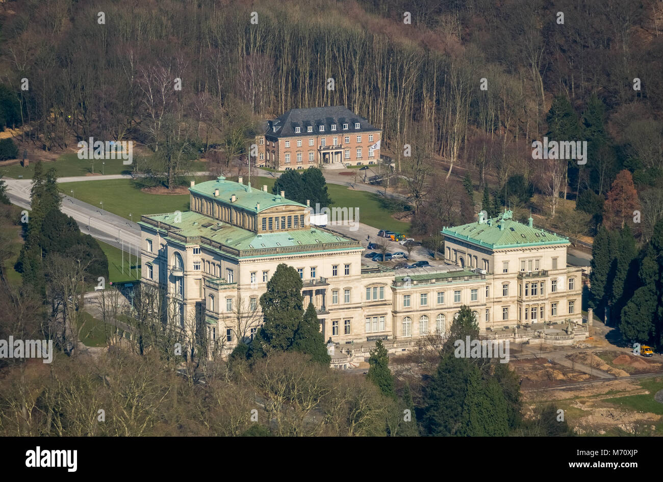 Villa Huegel, former family home of the Krupp family, above, Baldeneysee and rowing course ETUF, in Essen in NRW. - Stock Image