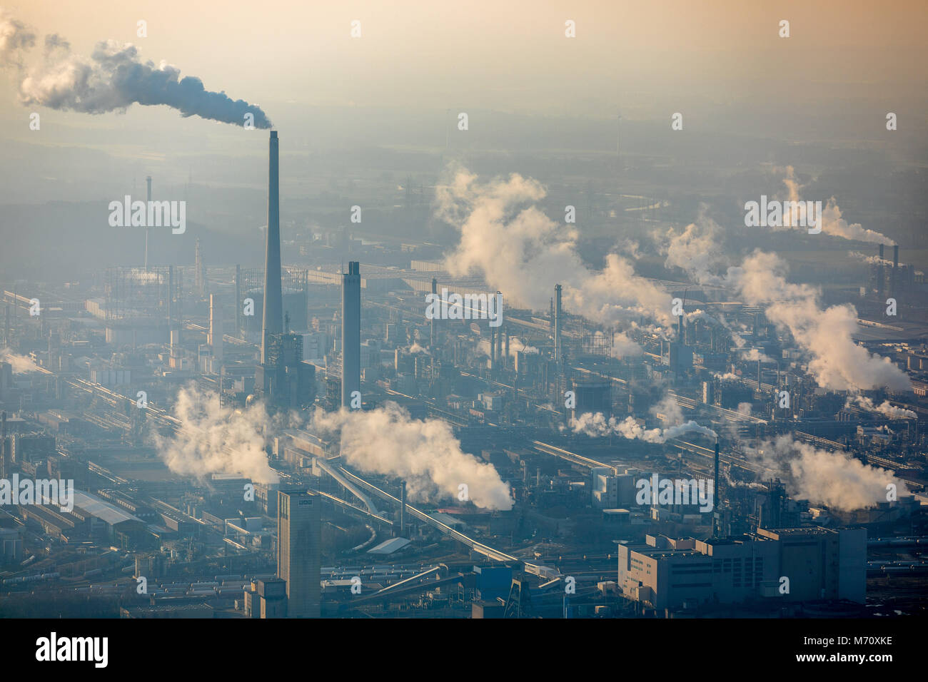 Marl Chemical Park, with Sasol Germany GmbH in Marl, Ruhr area, North Rhine-Westphalia. smoking chimney, chemical Stock Photo
