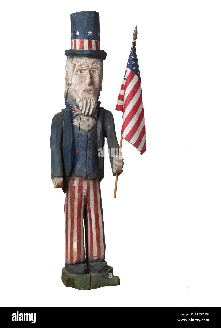 Uncle Sam chainsaw folk art sculpture - Stock Image